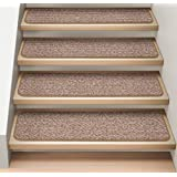 Set of 12 Attachable Indoor Carpet Stair Treads - Praline Brown - 8 In. X 30 In. - Several Other Sizes to Choose From