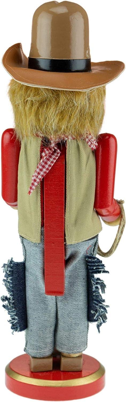 Strictly Briks Clever Creations Cowboy Christmas Casse-Noisette Traditionnel en Bois avec Chapeau de 4,5 l et Fusil 30,5 cm
