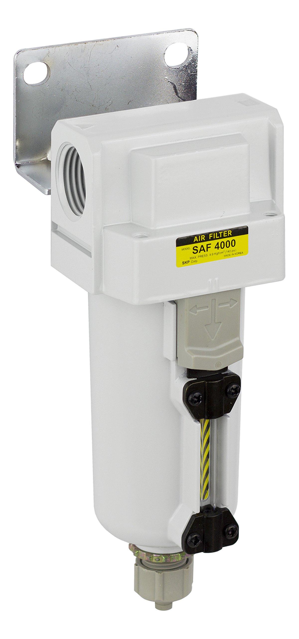 PneumaticPlus SAF4000M-N06B-MEP Compressed Air Particulate Filter, 3/4'' NPT, Manual Drain, Metal Bowl, 10 μm