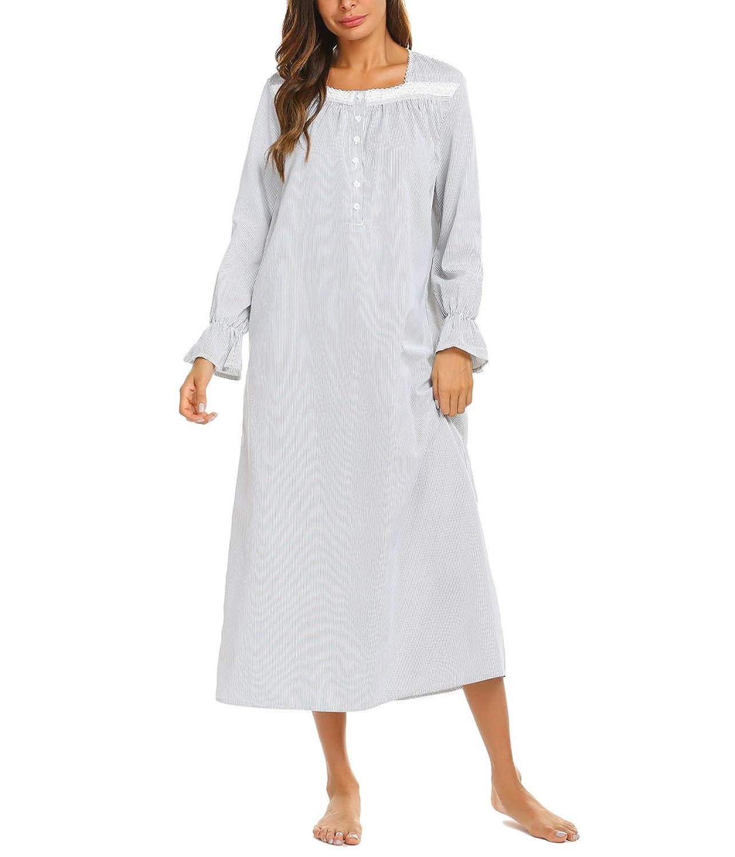 Brinol Damen Nachthemd Schlafanzüge Nachtwäsche Negligees Kurzarm Kurz Absatz Dessous Baumwolle Sleepshirt