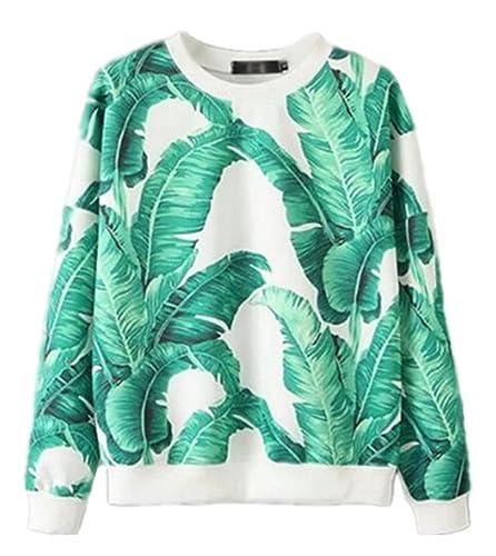 BESTHOO Mujeres Casuales Bonitas Round Neck Manga Larga Moda T-Shirt Impreso Hojas Verdes Top Maglia...