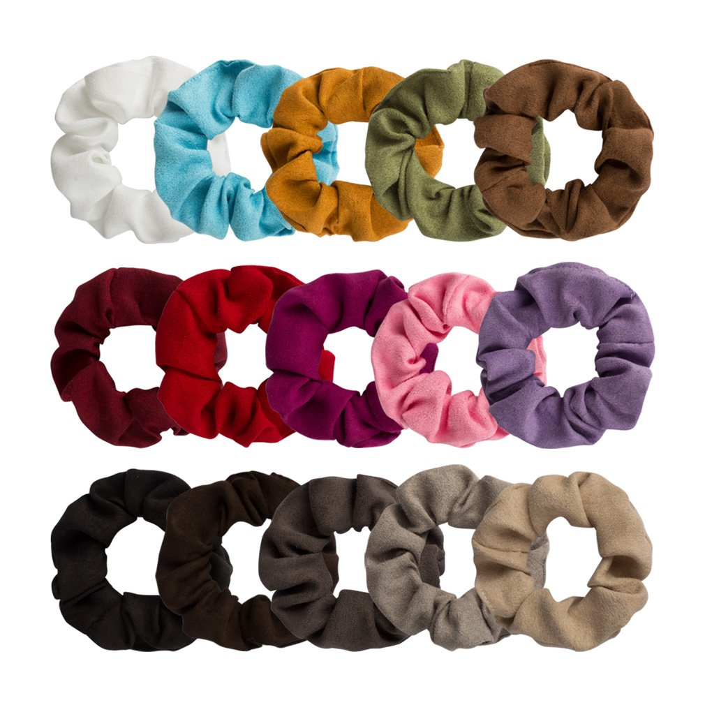 Jaciya 15 Pack Suede Scrunchies Stretch Scrunchies Ponytail Holder Hair Ring Hair Ties, 15 Colors