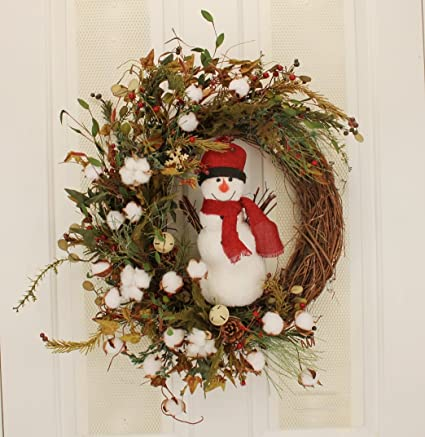 Amazon Winter Snowman Wreath Front Door Decorative Accessory