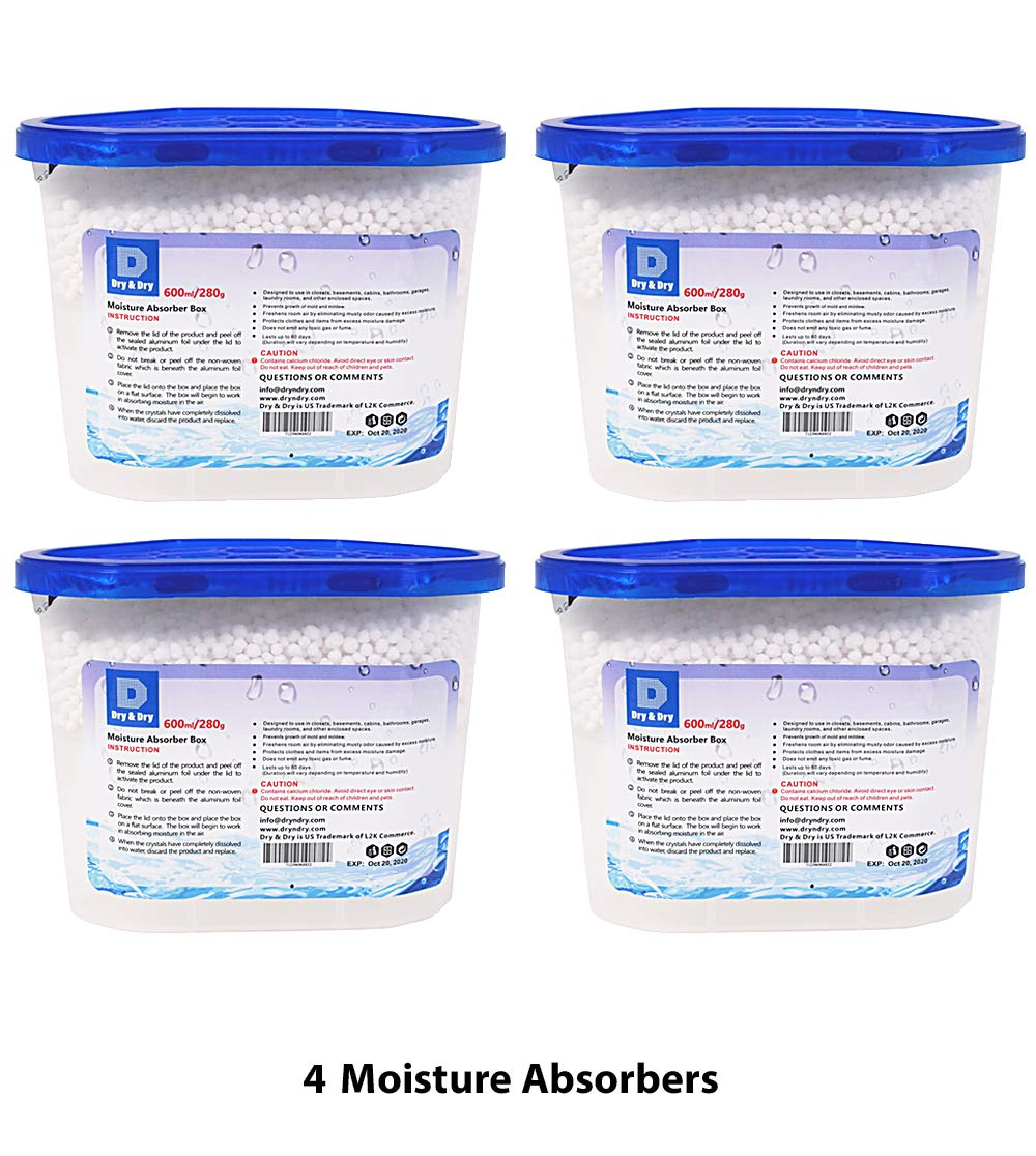 Mold L2K COMMERCE Net 10 Oz//Pack Bathrooms 8 Packs Laundry Rooms Mold Closets Dry /& Dry and Mildew for Basements No More Damp Premium Moisture Absorber to Control Excess Moisture