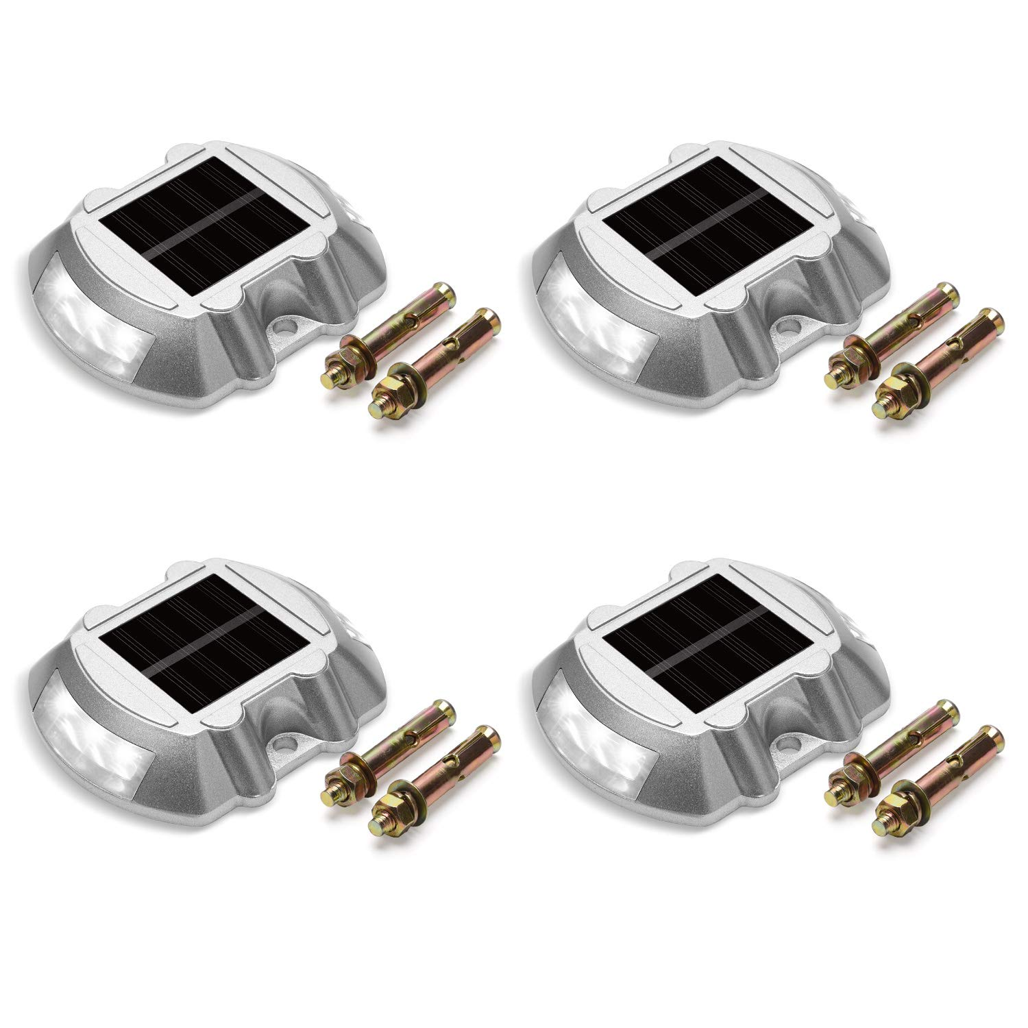 Solar Deck Lights 4-Pack JACKYLED Solar Dock Lights Path Road Long Service Time LED Light Bright White Weatherproof Wireless Outdoor Warning Step Lights for Driveway Garden Walkway Backyard Step by JACKYLED