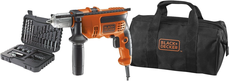 BLACK+DECKER KR714S32-QS Perceuse à percussion filaire - 20,5 Nm - 0 - 2800 trs/min - 47600 coups/min - Coffret d'accessoire - Livrée en sac de rangement 710W, 10V, Orange, 34