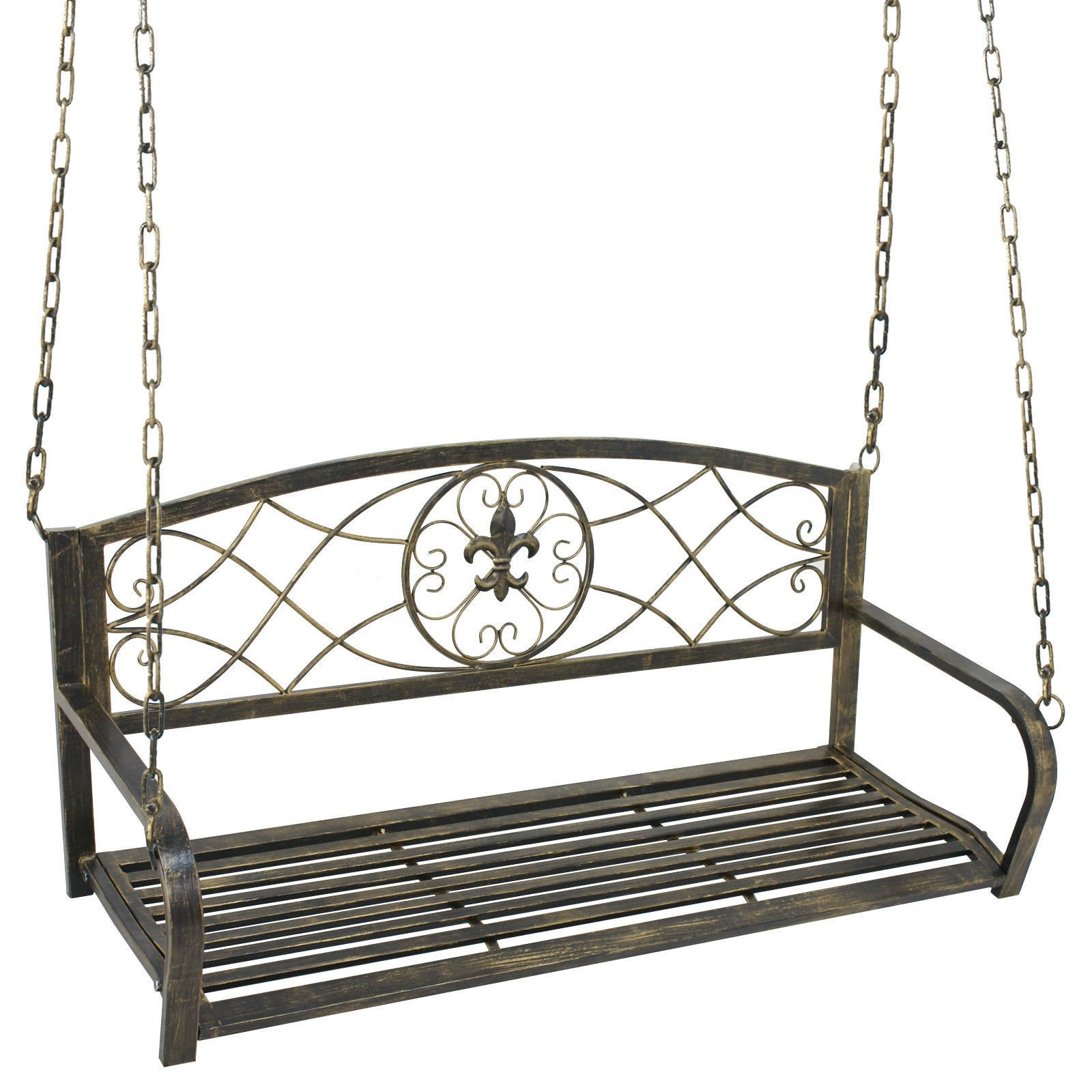 BBBuy Treated Porch Swing - Antique Metal Iron Patio Hanging Porch Swing Chair Bench Garden Swing Seat with Chains Outdoor Furniture Yard