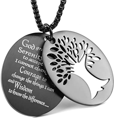 Black HAMANY Mens Stainless Steel Words Pendant Bible Engraving with 1X 22 inch Chain