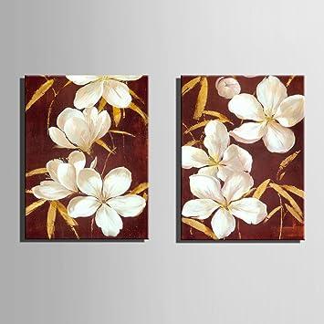 Weiße Blumen 100% handbemalt Home Decor Peinture à l\'huile Wall Art ...