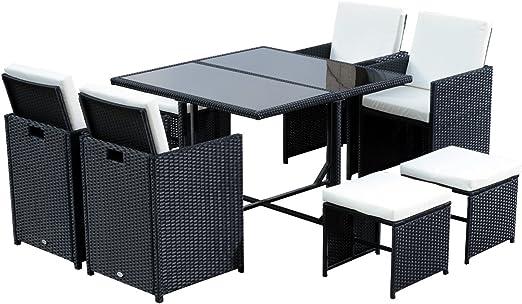 Outsunny Conjunto de Muebles de Jardín Comedor 9 Piezas de ...
