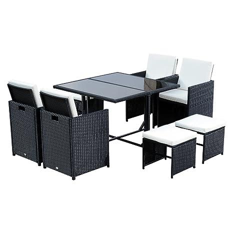 Outsunny Conjunto de Muebles Ratán de Jardín con 9 Piezas - Negro y Blanco - Poliratán Acero Poliéster y Vídrio