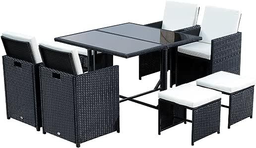 Outsunny Conjunto de Muebles de Jardín Comedor 9 Piezas de Ratán con Cojín para Terraza 1 Mesa + 4 Sillas + 4 Taburetes de Exterior Color Negro: Amazon.es: Jardín
