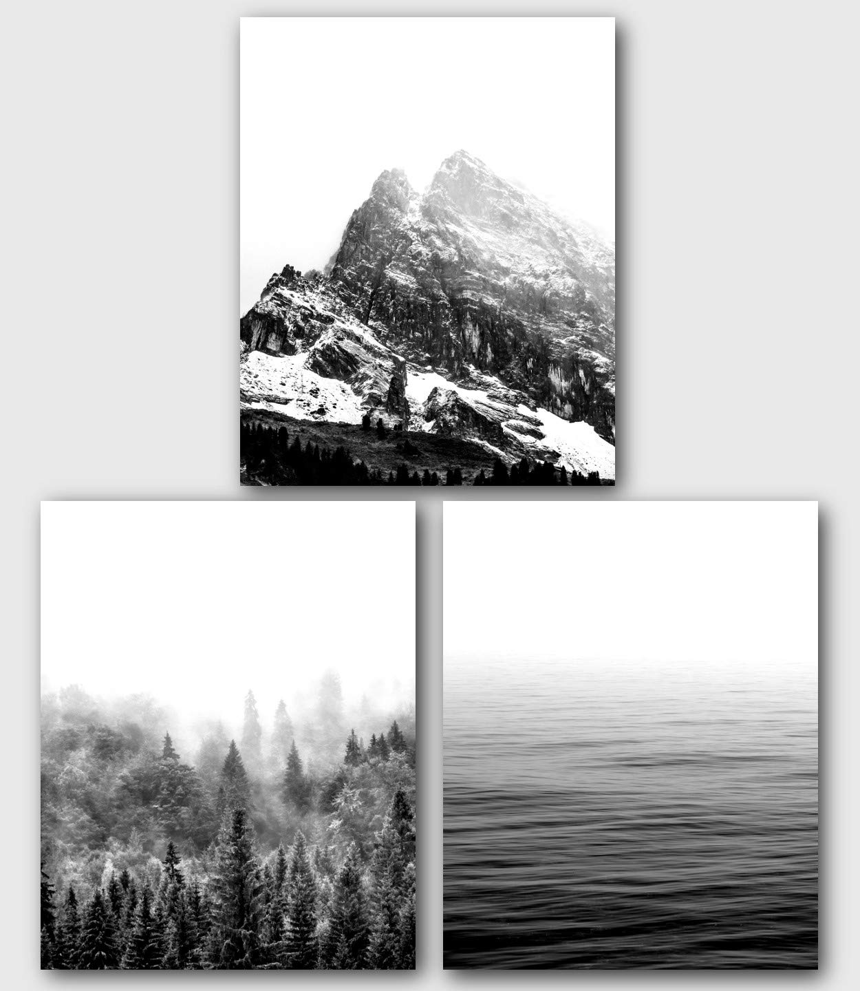 Mountains, Forest, Lake, Set of 3 Prints, Black and White Nature Art, 8 x 10 Inches, Unframed