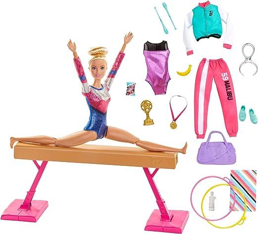 Amazon.es: Barbie Olimpíadas, muñeca gimnasta, barra de equilibrios de juguete y más de 15 accesorios (Mattel GJM72): Juguetes y juegos