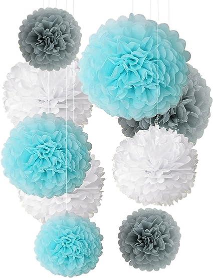 neutrals 5 tissue paper pom poms wedding decoration.htm amazon com tissue paper pom poms light blue gray white  tissue paper pom poms light blue gray