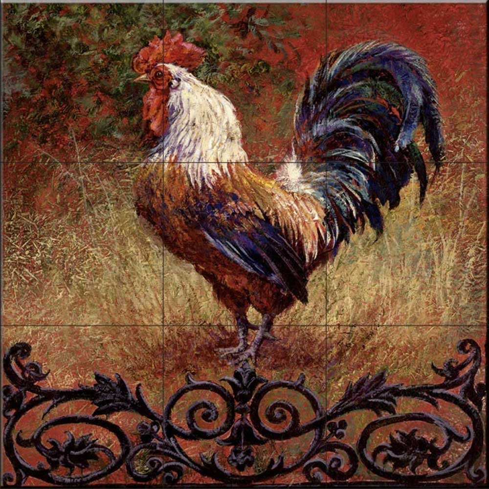 Ceramic Tile Mural - Iron Gate Rooster Square- by Laurie Snow Hein - Kitchen backsplash/Bathroom Shower by The Tile Mural Store