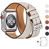 WFEAGL for Apple Watch バンド,は本革レザーを使い、iWatch Series 3、Series 、Series 1、Sport、Edition向けのバンド交換ストラップです (38mm, 二重巻き型 アイボリーホワイト)