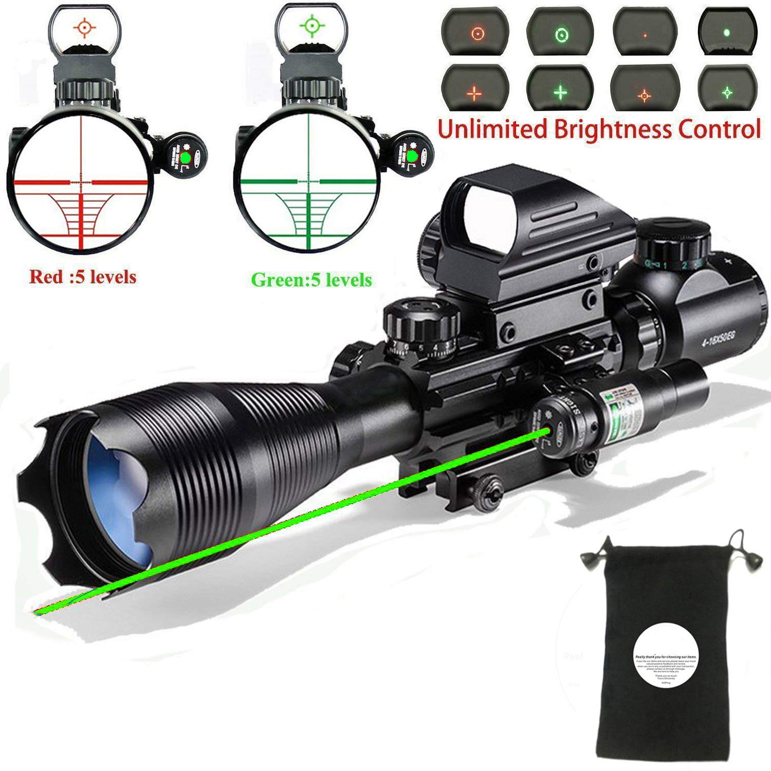 Rifle Scope Combo C4-16x50EG with Laser and 4 Holographic Red&Green Dot Sight by XopingABC