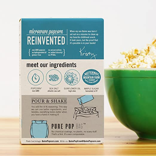 Quinn Snacks Microwave Popcorn - Made with Organic Non-GMO Corn - Great  Snack Food for Movie
