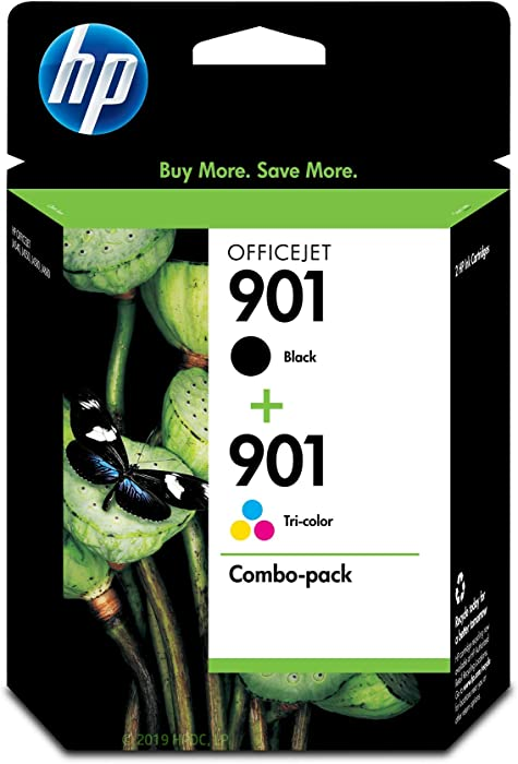 HP 901 | 2 Ink Cartridges | Black, Tri-Color | CC653AN, CC656AN