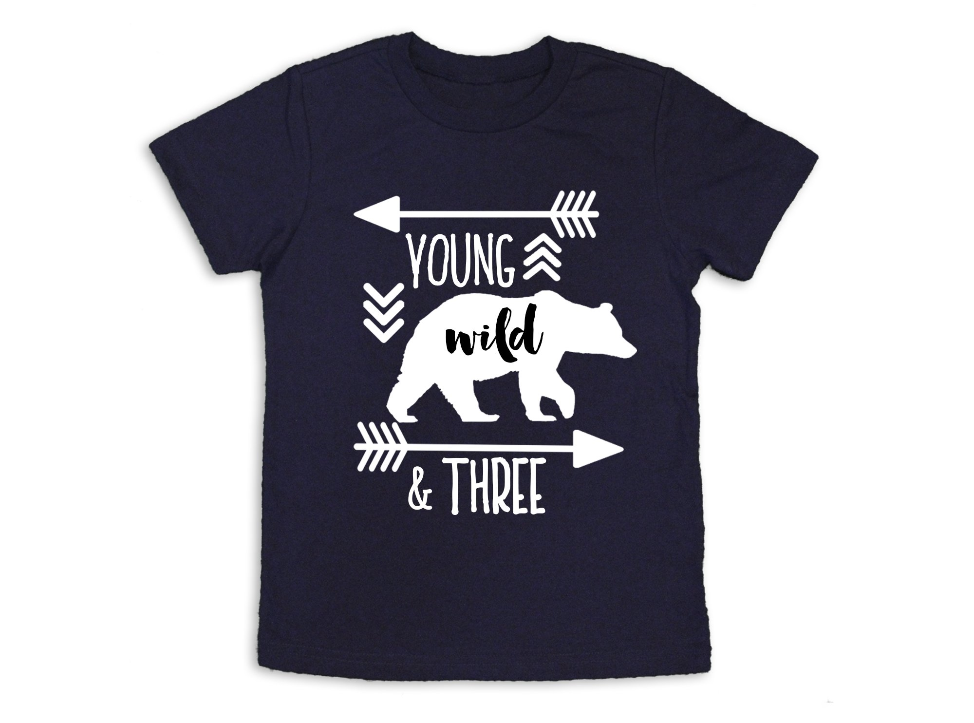 Oliver and Olivia Apparel Young Wild and Three Shirt 3rd Birthday Shirt Three Years Old (3 Toddler)