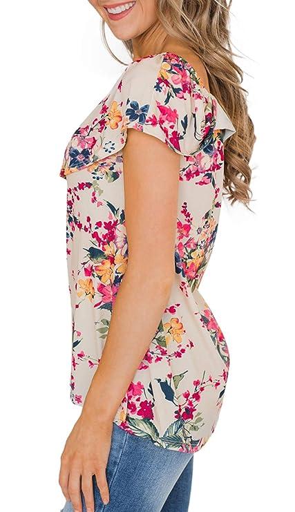 Amazon.com: Noabat – Blusa para mujer con diseño de hombros ...