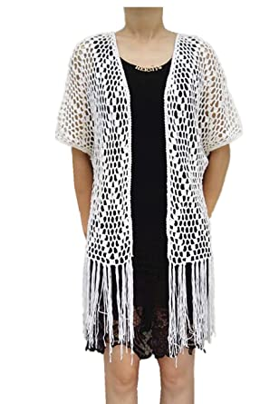 50cec1780133b Tinacrochetstudio Long Fringe Kimono Cardigan Crochet Bikini Cover Up Hippie  Summer Beachwear (S
