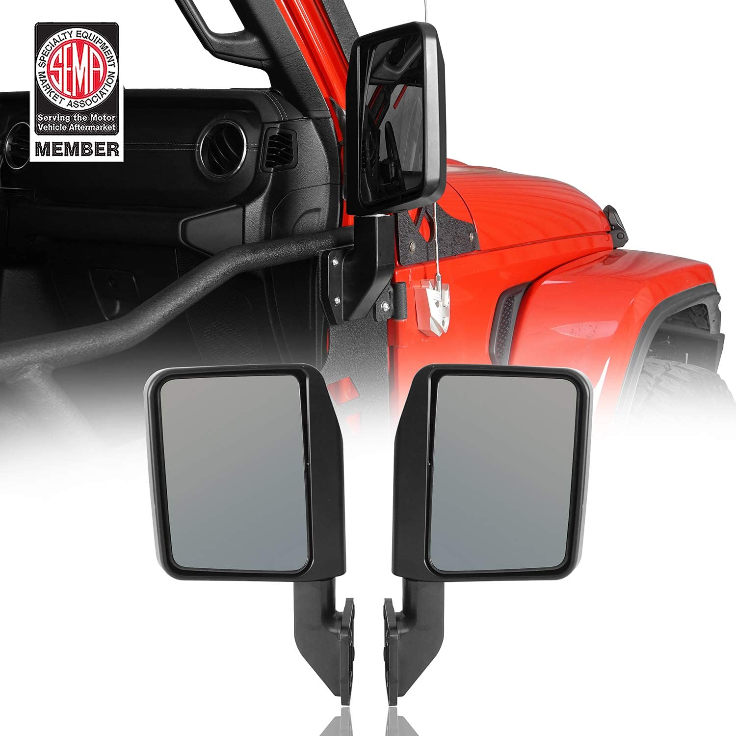 Hooke Road Wrangler Mirrors for Half Doors Compatible with Jeep Wrangler TJ JK JL 97-21 | Gladiator JT - 1 Pair, Textured Black