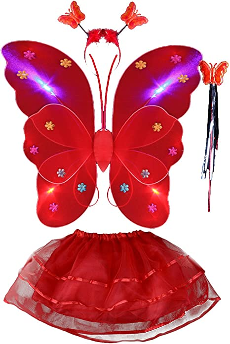 THEE LED Ala de Mariposa 4pcs Disfraz Luminoso de Mariposa para ...