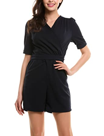 2edf7bffb266 Beyove Damen Jumpsuits mit V-Ausschnitt Mode Frauen Kurzarm High Waist Kurz  Overall Business Playsuit