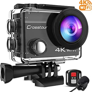 Crosstour Upgraded CT8500 4K 20MP Action Camera WiFi EIS Waterproof 40M with External Microphone and Remote Control