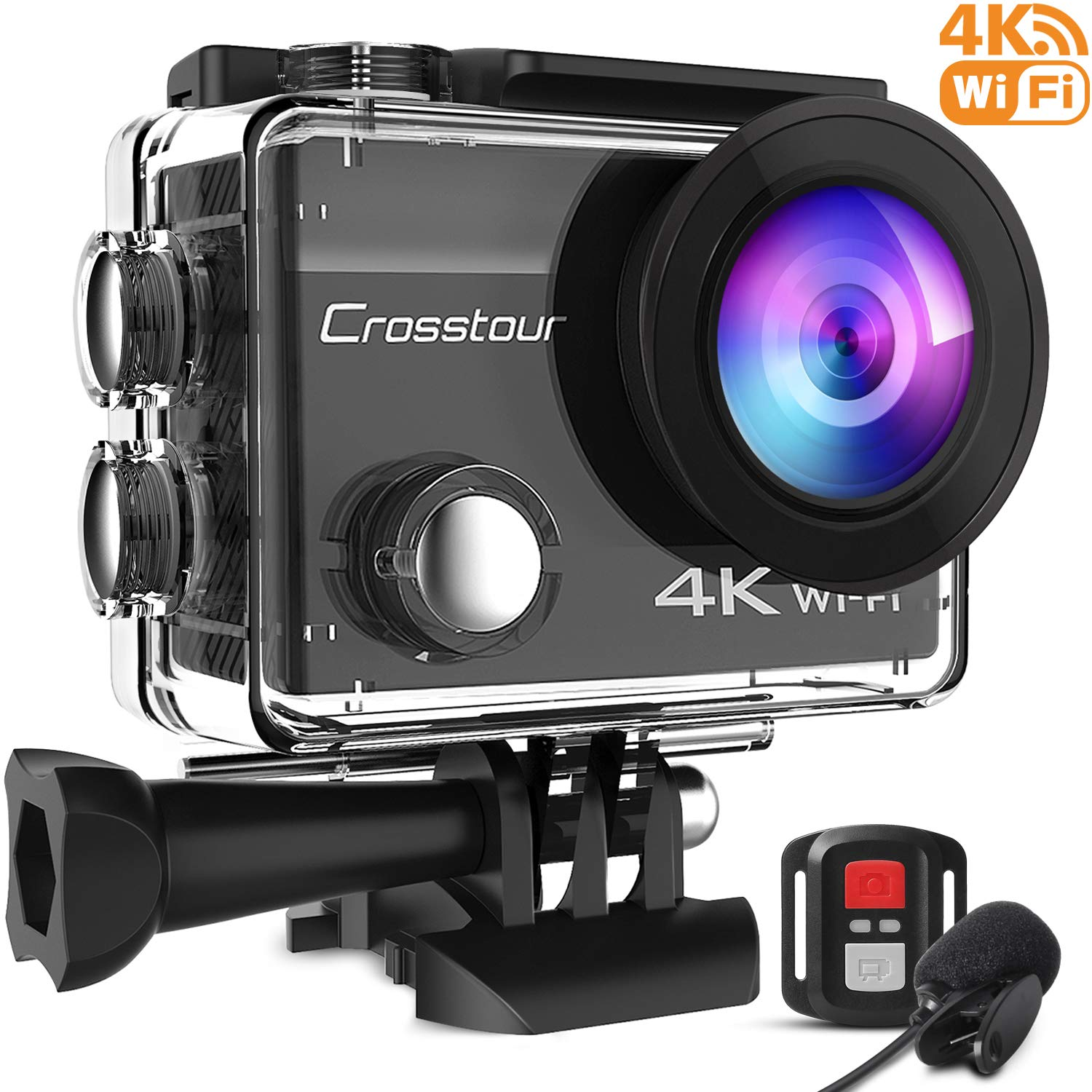 Crosstour 4K Action Camera 16MP WiFi Underwater Camera External Microphone Remote Control Anti-Shaking Time-Lapse with 2 Rechargeable Batteries and Accessories Sets for Diving and Snorkeling
