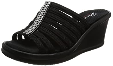 Skechers Cali Women's Rumblers Hot Shot Wedge Sandal, Navy