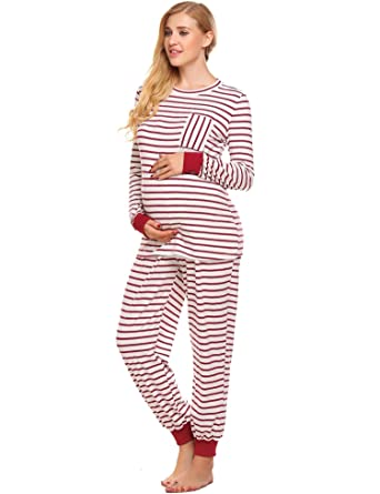 d037b3fe32266 Elever Womens Maternity Pajama Sets Thermal Underwear Striped Pregnant  Sleepwear at Amazon Women's Clothing store: