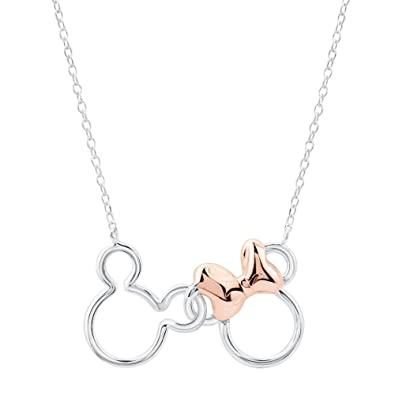 d193ab622 Amazon.com: REEDS Two-Tone Disney Mickey and Minnie Mouse Necklace: Jewelry