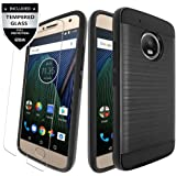 Moto G5 Plus Case / Moto G Plus (5th Gen) Case With Tempered Glass,IDEA LINE(TM) Hybrid Hard Shockproof Slim Fit Brushed Shockproof Protector Cover Heavy Duty Protective - Black
