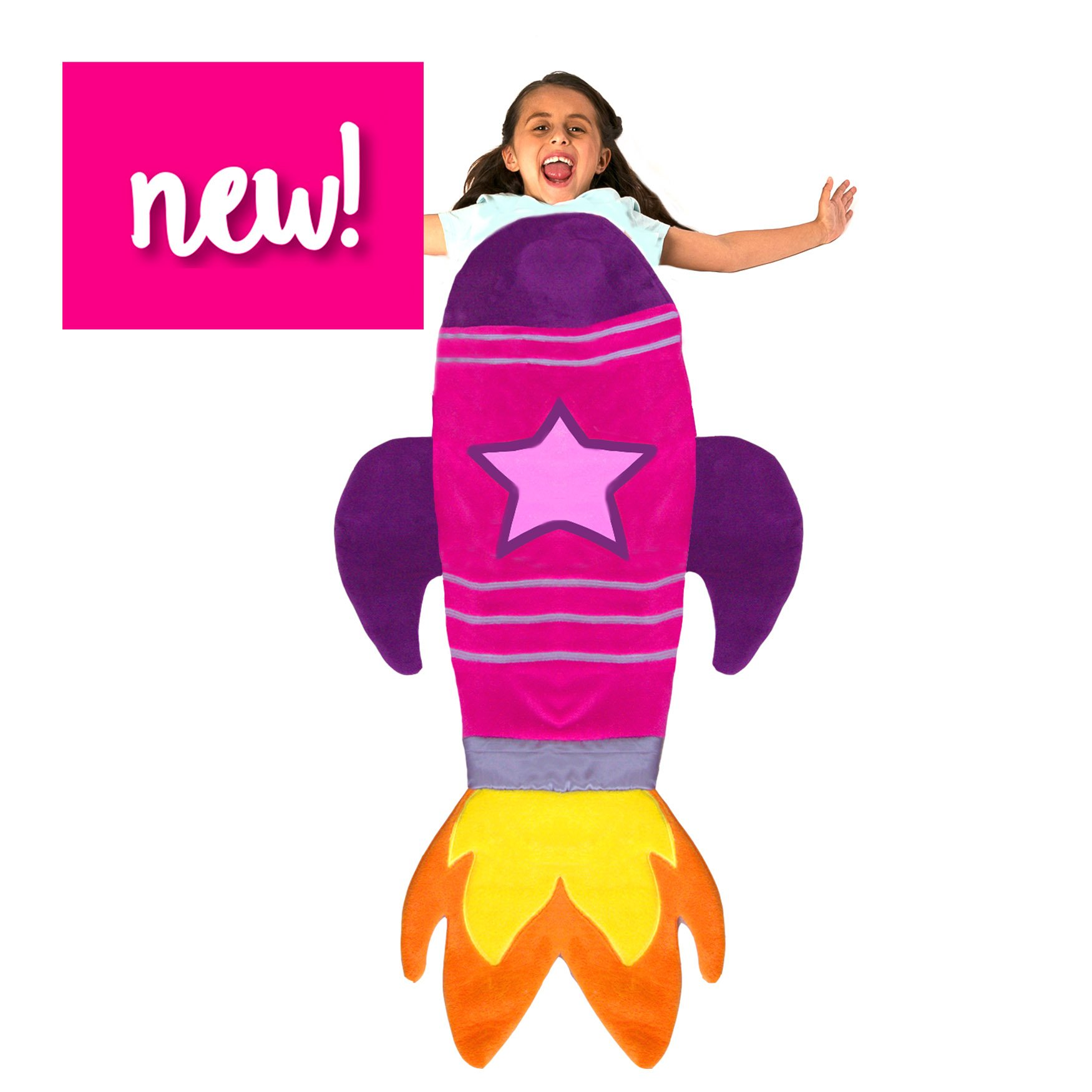 Blankie Tails Rocket Blanket for Kids - New! (Pink) Super Fun Design Lets Kids Climb Inside - Premium Quality Rocket Bedding in Pink - Favorite Birthday Gift Kids by Blankie Tails