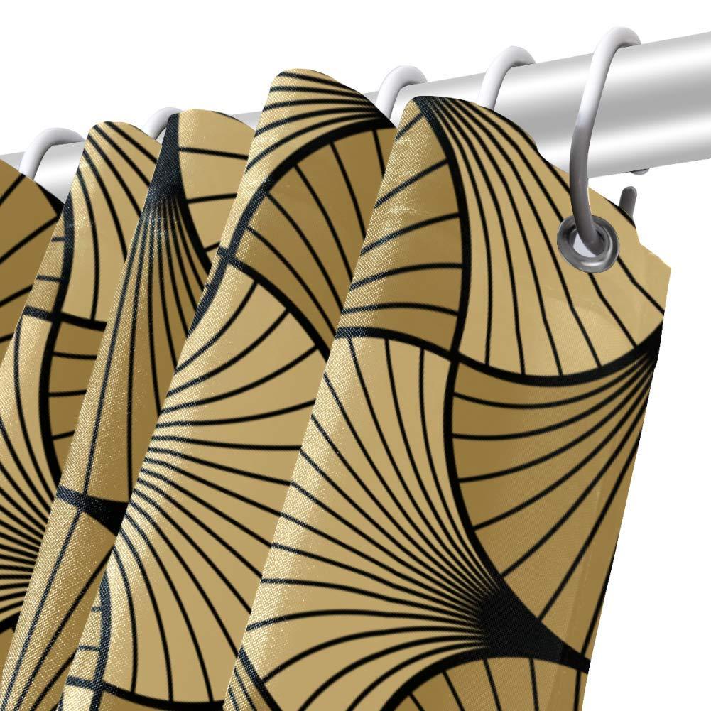 Bennigiry Art Deco Shell Gold Black Waterproof Shower Curtain with Non-Slip Bath Mat Set Water Absorbent Bath Mat 31X20 with Shower Curtain 70X72
