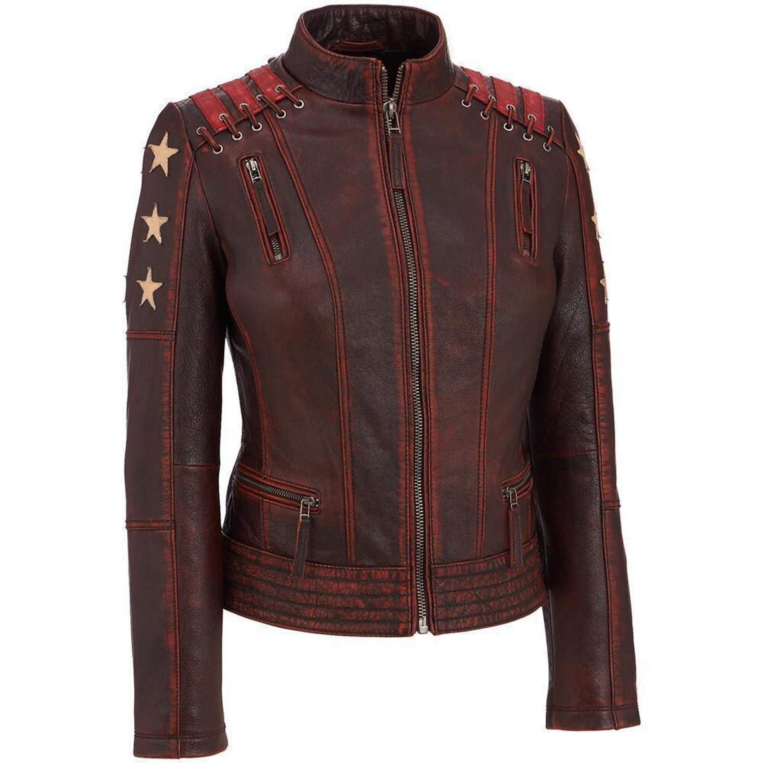 Cafe Racer Women Ox Blood Vintage Style Red Waxed Leather Jacket