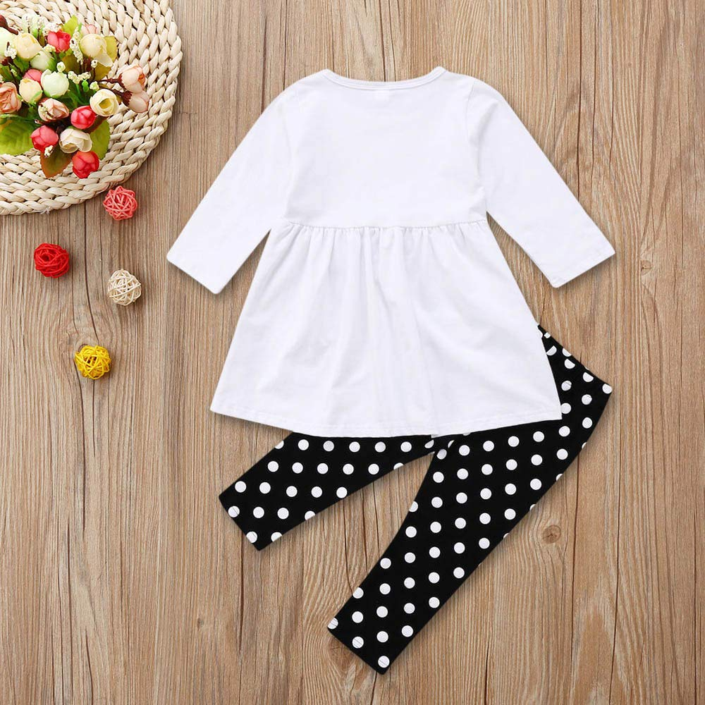 Christmas Toddler Kids Baby Girls 6 Months-5T Snowman Tops Dress Dot Pants Legging Outfit Set