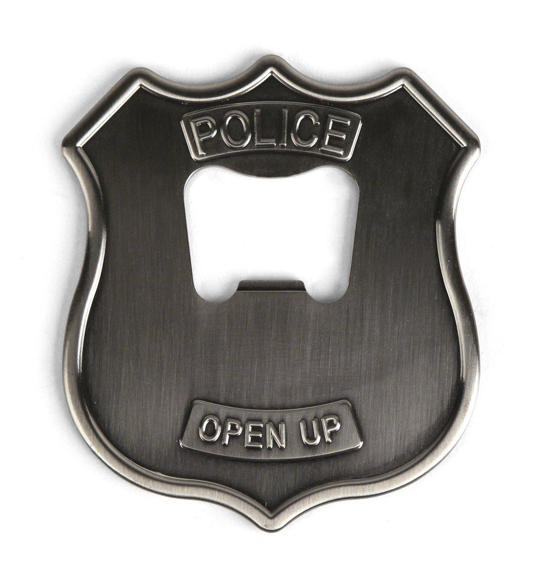 amazon com kikkerland police badge stainless steel bottle opener
