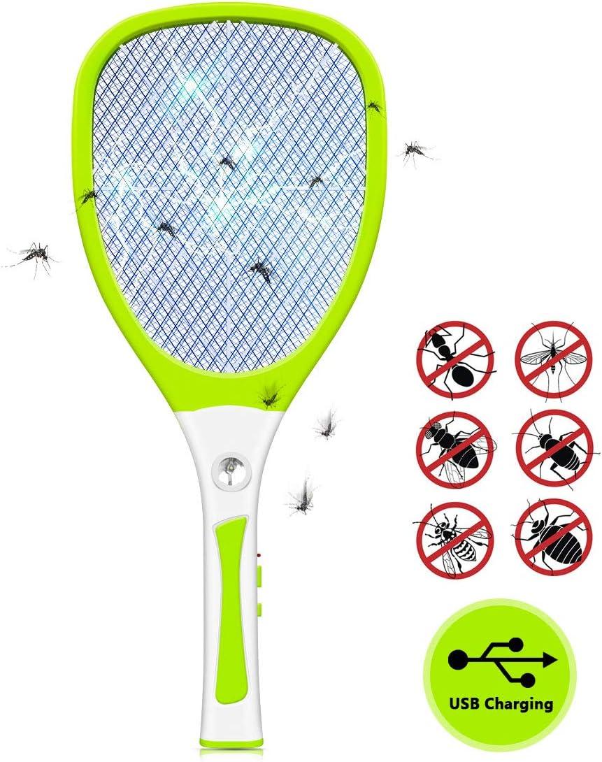 Urslif - Raqueta eléctrica para eliminar la trampa de mariposa, moscas y otros insectos. Volantes recargables por USB, iluminación LED, tres capas de protección de malla, color amarillo
