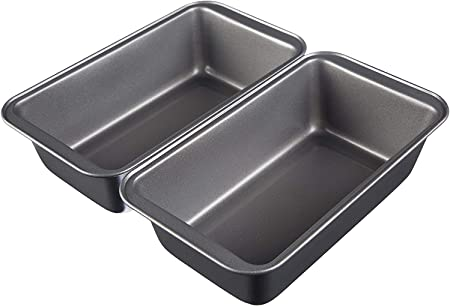 Juego de 2 moldes para hornear pan rectangulares; ideales para pan, pasteles de carne y más platos.,