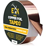 ELK Copper Foil Tape with Conductive Adhesive - Slug & Snail Killer and Repellent, Stained Glass, Craft, Guitar, EMI Shielding, Soldering and Electrical Repair - Heavy Duty (1 inch x 66 ft)