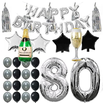 ezing 80th b day party supplies decorations kit pack silver tone tassel and happy