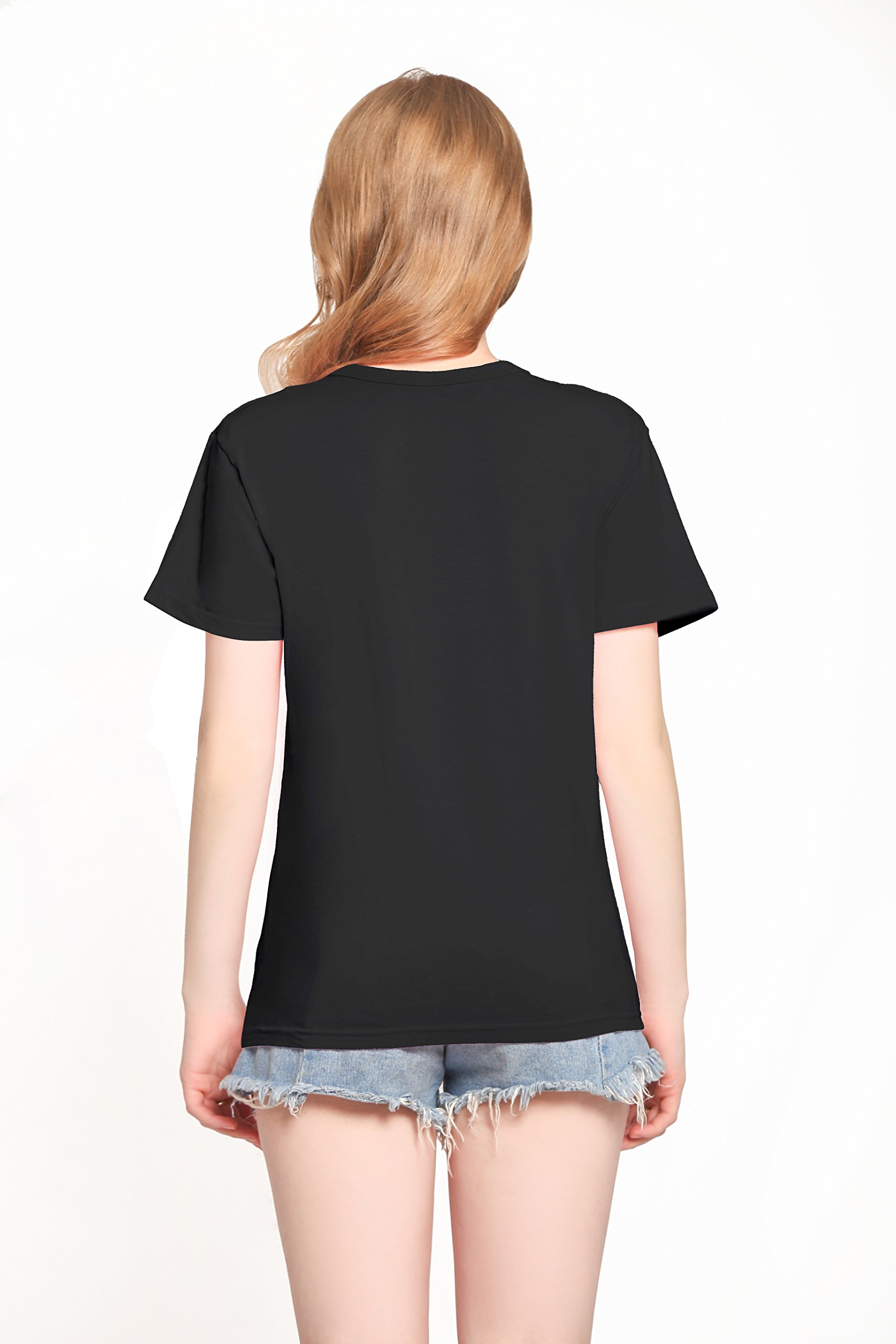 PINJIA Womens Cotton Letter Printed Pullover Tshirts Top Tees(MX15)(L,Black Bitches)