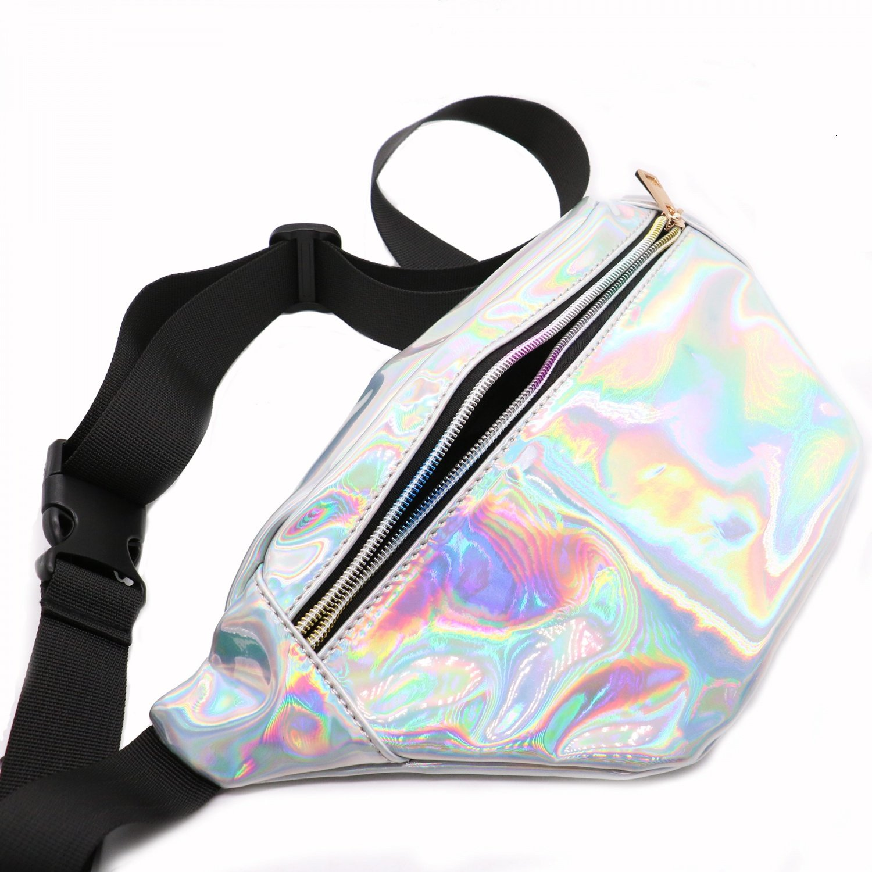 Rugjut Waist Bag Casual Bag Women Shiny Holographic Fanny Pack Bum Bag best