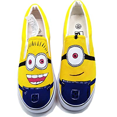 Despicable Me Minions Anime Design Women's Lace-up Canvas Shoes Low Top Sneakers Cusom Shoes