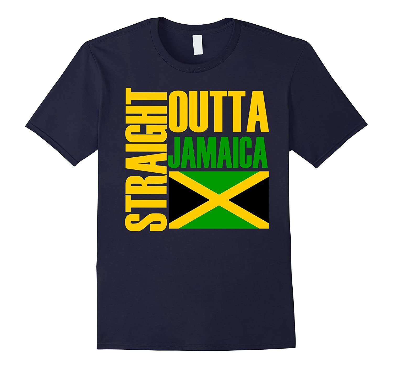 Storecastle: Straight Outta Jamaica Funny Gift Flag T-Shirt-FL