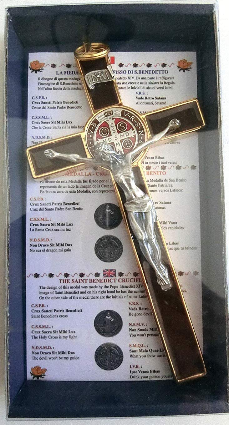10.004.21Cruz de oro marrón de San Benito, de 20cm, esmaltada, con caja de regalo, para sacerdote, monja, para exorcismo